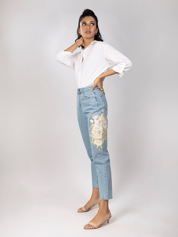 Mom floral jeans